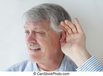 mature man has trouble hearing