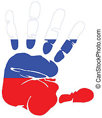 hand print flag of Russia