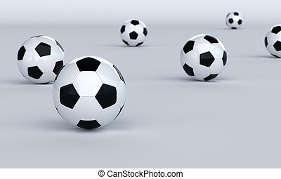 Football background - Footballs on a bright background,...