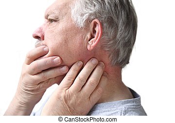 senior with neck and jaw stiffness - older man has...
