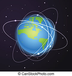 trajectories of satellites - Earth with trajectories of...