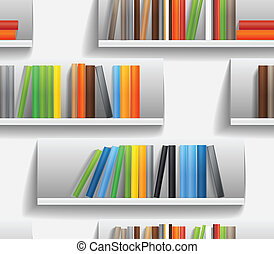 book shelves - Seamless background of library shelves with...