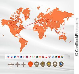 Map with flight infographics