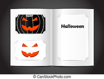Photo album with Happy Halloween congratulations