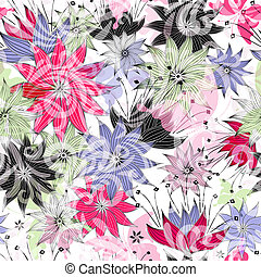 Seamless floral pattern with colorful flowers and...