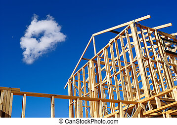 Detail of house frame under construction - Timber frame of a...