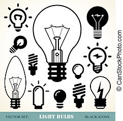 light bulbs set - set of light bulbs icons
