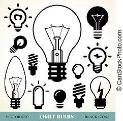 luz, bombillas, Conjunto