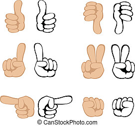 Vector hand gestures - Cartoon hand gestures set. Vector eps...