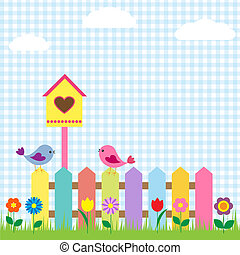 birds and birdhouse - Background with birds and birdhouse