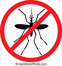 Stop mosquito - Mosquito vector silhouette. Insect reppelent...