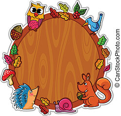 forest frame - wooden board decorated with forest animals...