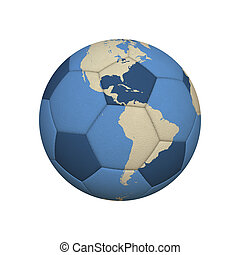 Soccer World America - World Map on a Soccer Ball Centered...