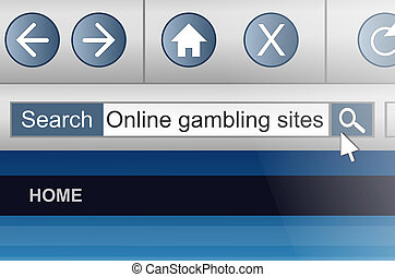 Online gambling. - Illustration depicting a computer screen...