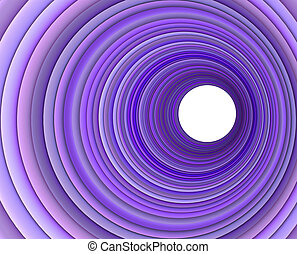 3d render concentric pipes in multiple purple color