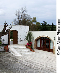 Monastery Courtyard - Mediterranean Monastery Courtyard in...