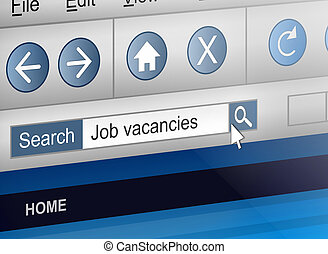 Job search concept. - Illustration depicting a computer...