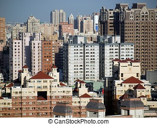 View of a Crowded City - Scenics of a densely populated city...
