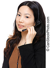asian woman wearing headset
