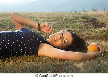 Summer woman and apple