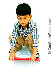 Asian little boy with blank marker board - isolated on white...