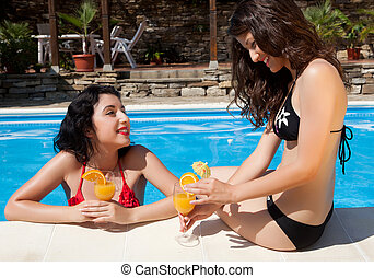 Chatting at the poolside