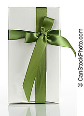 White cardboard box with a green ribbon.