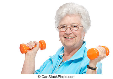 Attractive senior woman at health club - Happy senior woman...