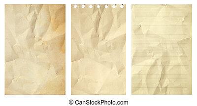 zerknittert, satz,  Grunge, Freigestellt, Papier, hintergrund, altes, weißes