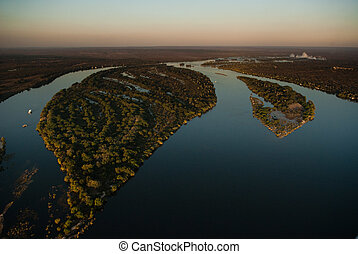 Zambezi river from the air - Aerial view of the Zambezi...