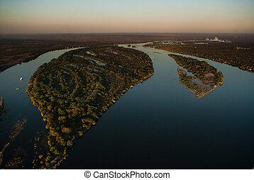 Zambezi river from the air - Aerial view of the Zambezi...