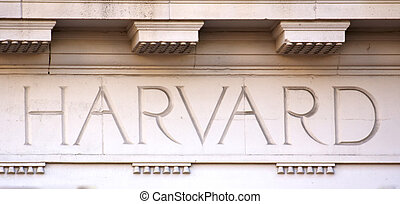 Harvard Letters on a University Building - The Word Harvard...