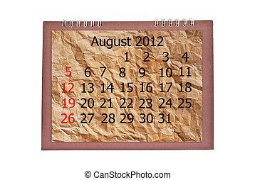 August 2012 Calendar isolated.