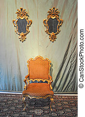 Throne seat of king queen sovereign pope bishop on...