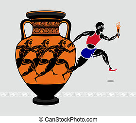 Greek runners - Running with a torch from the ancient greek...