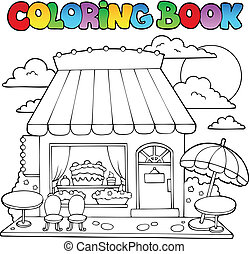 Coloring book cartoon candy store - vector illustration
