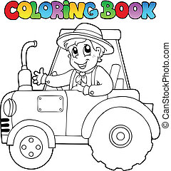 Coloring book farmer on tractor - vector illustration