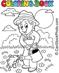 Coloring book garden and gardener - vector illustration.