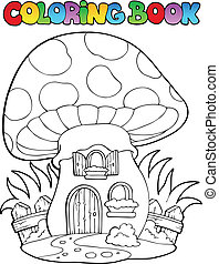 Coloring book mushroom house - vector illustration.