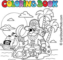 Coloring book with pirate theme 4 - vector illustration.