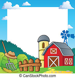 Farm theme frame 1 - vector illustration