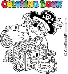 Coloring book with pirate theme 8 - vector illustration