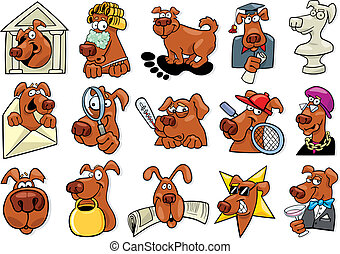 funny dogs set - cartoon illustration of funny dogs icons...