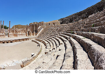 The seats and a stage in the Roman amphitheater