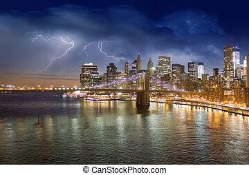 cidade, sobre,  brooklyn,  York, Tempestade, noturna, Novo, ponte