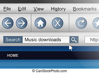 Audio download search. - Illustration depicting a computer...