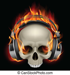 Flaming Skull Wearing Headphones on black background