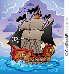 Pirate ship in stormy sea - vector illustration.