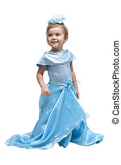 Playing Dress-up - Darling little girl in a dress on a white...