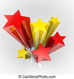 Stars with flag colours - Six stars with Spain colours flag,...